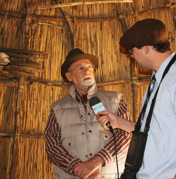 Chief Howard discusses history of the Native People with a Radio reporter.